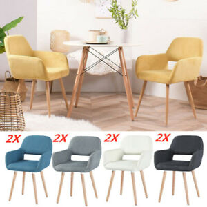2 Designer Style Dinner/Dining Chairs Set Modern Kitchen Seat Pair Fabric Padded