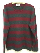 Juicy Couture Mens 100% Cashmere Striped Sweater Merlot/Gray Pullover M