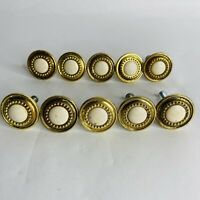 Lot 10 Vintage Drawer Cabinet Pull Knob Handles Round Creamy White Gold Metal
