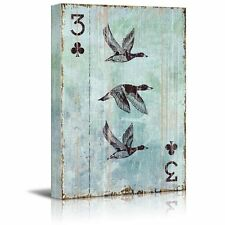 wall26 - Poker Cards Canvas Wall Art - Spades 3 - Three Flying Wild Geese -16x24