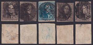 Belgium 1849 - Lot of 5 Classic stamps EPAULETTE - Used VF Very Fine.......X2954