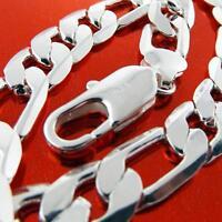 Bracelet Bangle Real 925 Sterling Silver SF Solid Heavy Mens Figaro Link Design