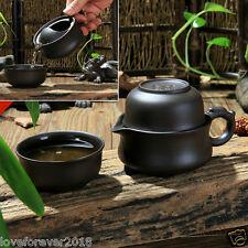 Chinese travelling tea set 140ml tea pot zisha purple clay 75ml tea cup marked