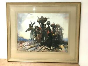 GD Paulraj Original Watercolour Painting India People Scene Framed
