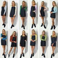 Ladies Womens Plain Lurex Cardigan Shrug Long Sleeve Knitted Bolero Top