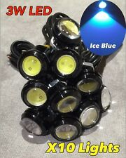 10x Ice Blue 3w high power LED puddle lights lens JDM VIP ground DRL for c
