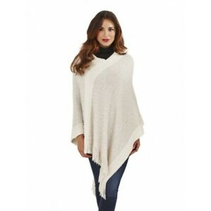Women's Supersoft Cosy Sequin Knitted Poncho Cream