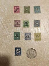 5 Mark 1935 HINDENBURG Third Reich German coin Silver 10  Swastika STAMP Lot
