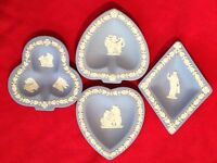 ❤LOVELY WEDGWOOD PALE BLUE JASPERWARE BRIDGE CARD SET TRINKET PLATES PIN DISH❤