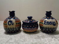 3 Pz. Convoluzione - Ceramica/Terracotta - Hans Holland - Pavone - Fatto a Mano