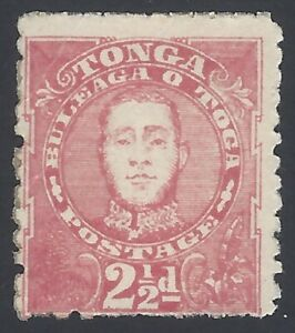 Tonga 1895 2 1/2d rose mint no gum SG 33