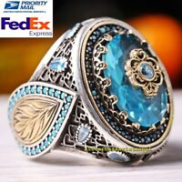 AAA Quality Aquamarine Stone Turkish Jewelry 925 Sterling Silver Mens Ring Usa