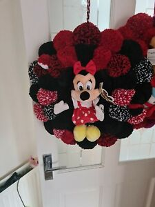 HANDMADE NEWBORN BIRTHDAY POMPOM MINNIE MOUSE WREATH
