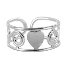 925 Sterling Silver Swirls and Single Heart Design Toe Ring #Psts015