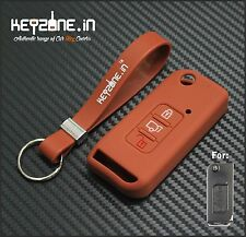 Keyzone Brown Silicone Key Cover for Mahindra XUV500 flip Key & brown keychain