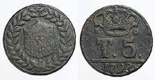 """pci0045) Napoli Tornese 5 Ferdinando IV """"P sotto lo stemma"""" 1798"""