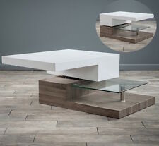 Modern Wood Glass Coffee Table White Rectangular Contemporary Living Furniture