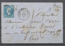 Env. Libourne/21 Avril 1863, 20c dentelé obl PB1° Paris à Bordeaux, Taxe 4 X4772