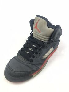 Air Jordan 5 Retro Satin Bred Black/Red Shoes Youth (Size: 5) 440888-006