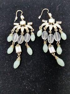 Fabulous Chandelier Mint Green Faceted Glass Beads Rhinestones Earrings