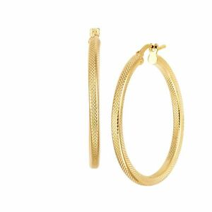 Italian-Made 30 mm Textured Hoop Earrings in 18K Gold-Plated Bronze