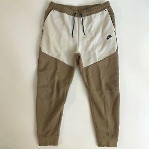 Nike Mens Size 2XL XXL Sportswear Tech Fleece Joggers Pants Beige Black New 1358