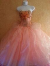 Blush Peach 60's Corset Organza Lace Tea Length Beaded Wedding Bridal Ballgown