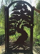 Bonsai Tree Gate Custom Pedestrian Walk Thru Entry Walk Thru Steel Garden Gate
