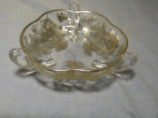 New Martinsville Viking~Prelude~Clear Glass Candy Dish~Silver Floral Overlay~Vtg