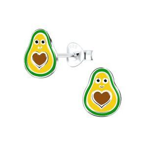 Green Avocado Heart Sterling Silver Stud Earrings 9mm