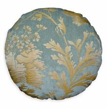 We101n Gray Blue Damask Flower Chenille Round Shape Pillow Case Cushion Cover