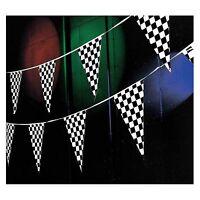 100' Pennant Flag Banners Black White Checkered Nascar Race Car Party Decor