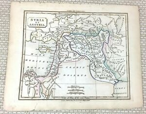 1838 Antique Map of Ancient Syria Assyria Arabia Old Hand Coloured Engraving