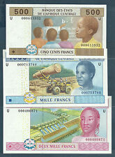 Central African States 500, 1000, 2000 Francs, 2002, Cameroun, P 206-208, UNC
