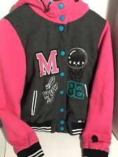 Girls Jacket Sz M Black Meow CAT A02 zipper Ears Hoodie Valentines Black/pink