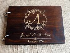 wood wedding guest book A4, rustic guest book, monogram guest book, custom made