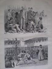 Sumo Wrestling GIAPPONE & Duca di Connaught L'ACQUISTO DI PELLICCE a Nikko 1890 VECCHIE STAMPE
