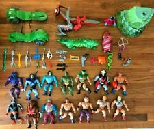 1980s He-Man HUGE Lot 46 Masters of the Universe MOTU Action Figures Accessories