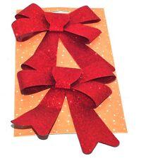2x 16cm Glittered Christmas Bows Festive Tree Decorations Seasonal Red