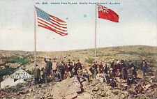 1908 Under Two Flags, White Pass Summit, Alaska, US & UK Celebration Postcard