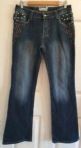 Ladies size 10-12 Dark Blue Studded Stretch Denim Jeans  - Miss Natalie