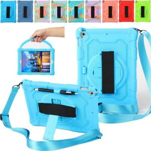 For iPad 5 6 7 8 9th Gen Air Pro Rotating Case Portable Strap Shockproof Cover