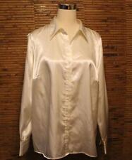 Satin Blouse Dress Shirt Venezia Size 14/16 Ivory Cream Button Front Worn Once