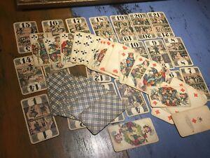 1800S SCHUTZ-MARKE GERMAN C.L. WUST FRANKFURT TAROT PLAYING CARDS 54 BOURGEOIS
