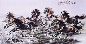 ORIGINAL ASIAN FAMOUS FINE ART CHINESE ANIMAL WATERCOLOR PAINTING-Horses Racing