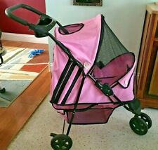 "Folding Pet Stroller/Jogger-""Dio r""-Pink-Front Wheel Suspension-Lightweight"