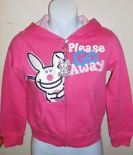 "It's Happy Bunny Junior ""Please Go Away"" Hoodie Fuchsia Small (S) + Key Chain"