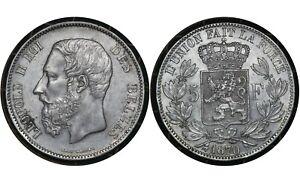 5 Francs 1870 Belgium 🇧🇪  Silver Coin // Léopold III  # 24  From 1$