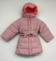 J Crew girls down belted puffer jacket coat hood PINK Down Feather Fill Crewcuts