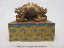 Chinese Royal Pure Bronze Cloisonne Enamel Two Dragon Imperial Stamp Seal